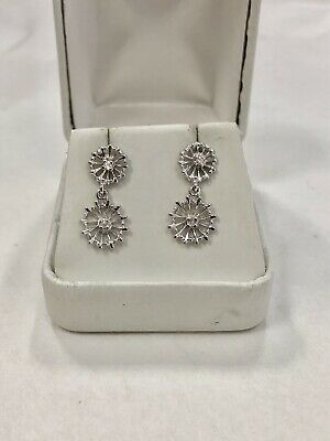 14k White Gold Dangling Snowflake Diamond -