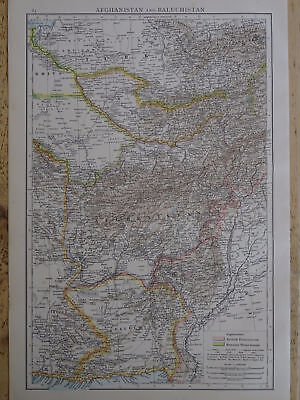 Victorian Map 1896 of AFGANISTAN & BALUCHISTAN The Times Atlas 1st Gen