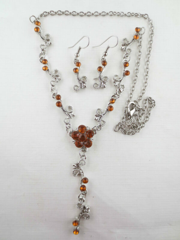 Vintage Style Dangling Topaz Rhinestone Flower Lariat Necklace Earrings R46