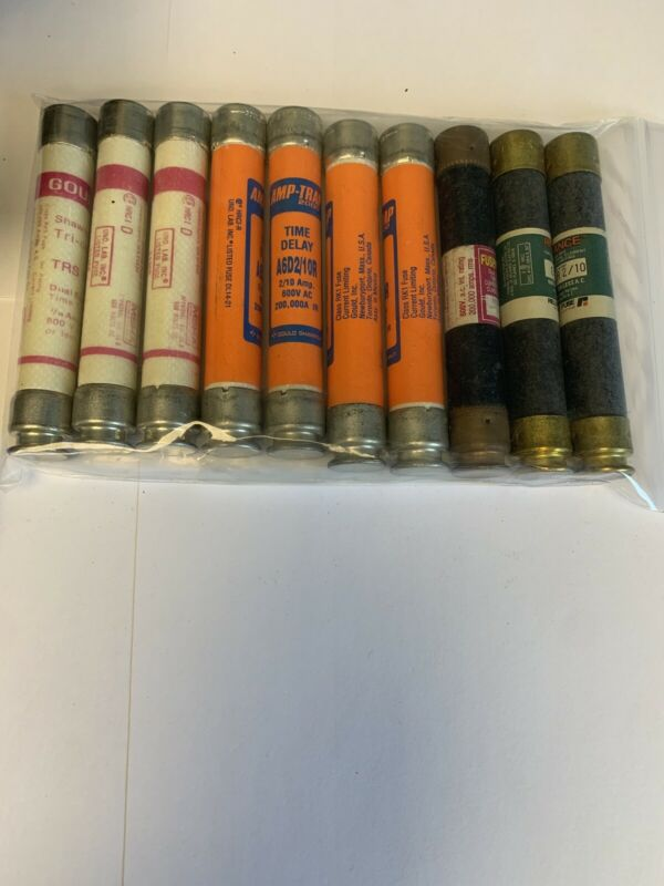 Lot Of 10 Assorted 2/10a 600v Fuses