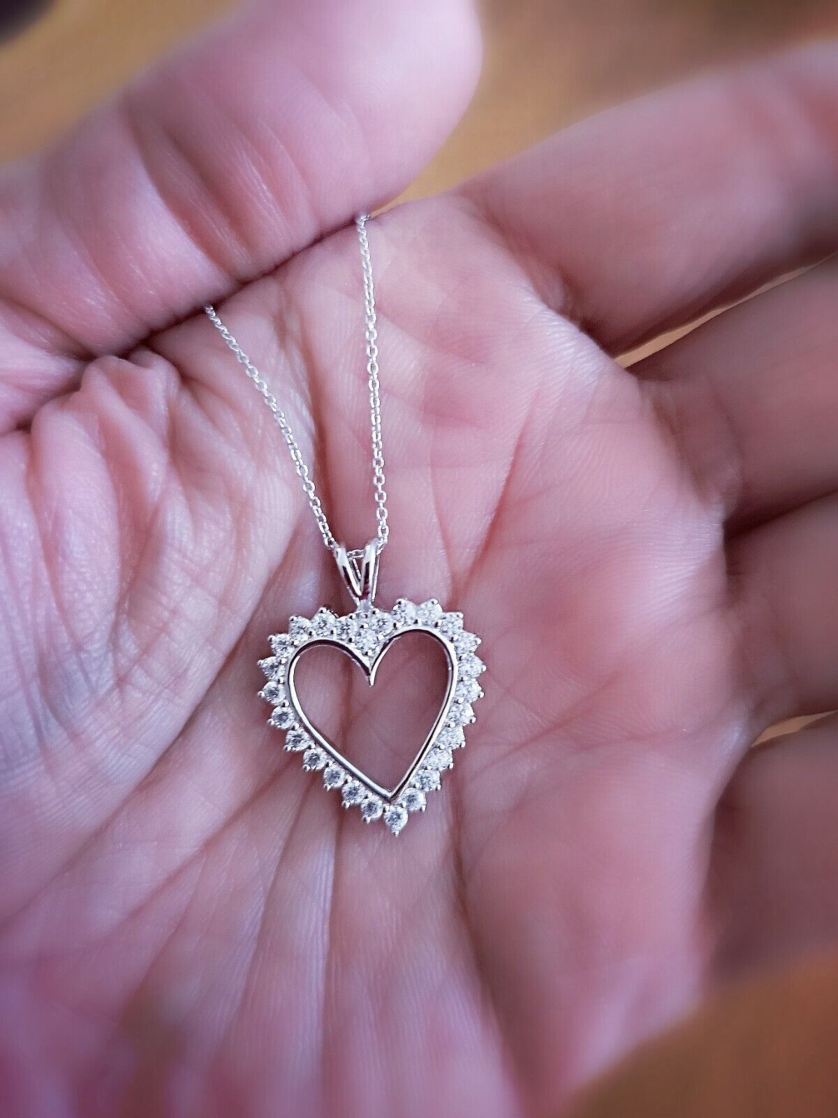 1.25 Ct Diamond Heart Pendant Womens Necklace 14K White Gold over with Chain 9