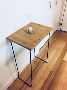 HALL WAY CONSOLE TABLE VINTAGE RECLAIMED WOOD BARN BOARD & STEEL