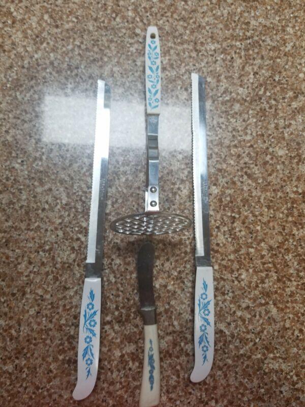 Vintage Set of 4 Stainless Steel Cornflower Utensils 2 knives, Spreader, Masher