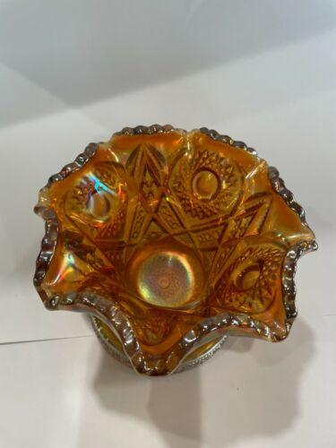 Vintage Imperial Marigold Carnival glass vase
