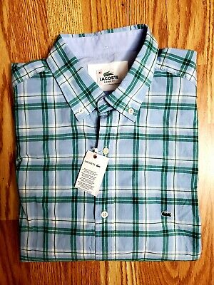 Lacoste mens shirt size 42 Classic Fit Short Sleeve Button Up LARGE