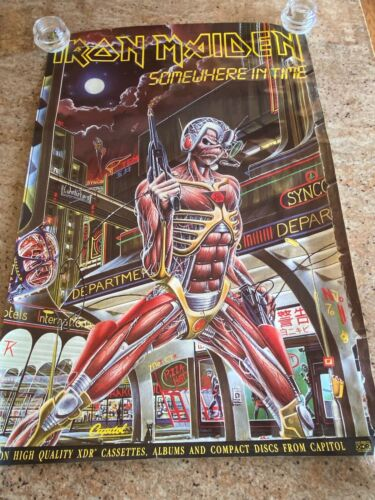 IRON MAIDEN - SOMEWHERE IN TIME / 1986 CAPITOL RECORDS PROMO POSTER / EDDIE