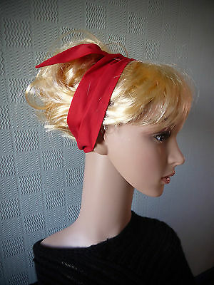Red cotton hair scarf, retro vintage style scarf, fifties rockabilly hair tie, - Fifties Hair