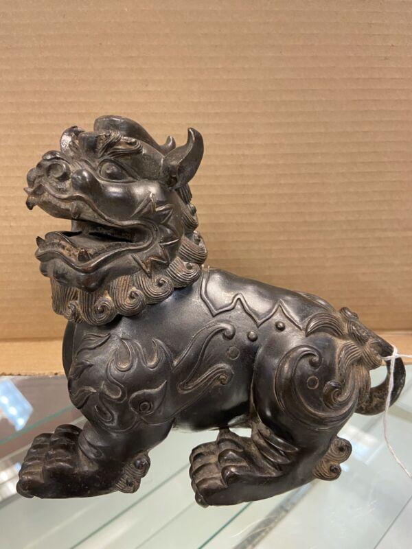 Vintage Chinese Patinaed Bronze Censer / Incense Burner, Foo Dog/Lion on Lid