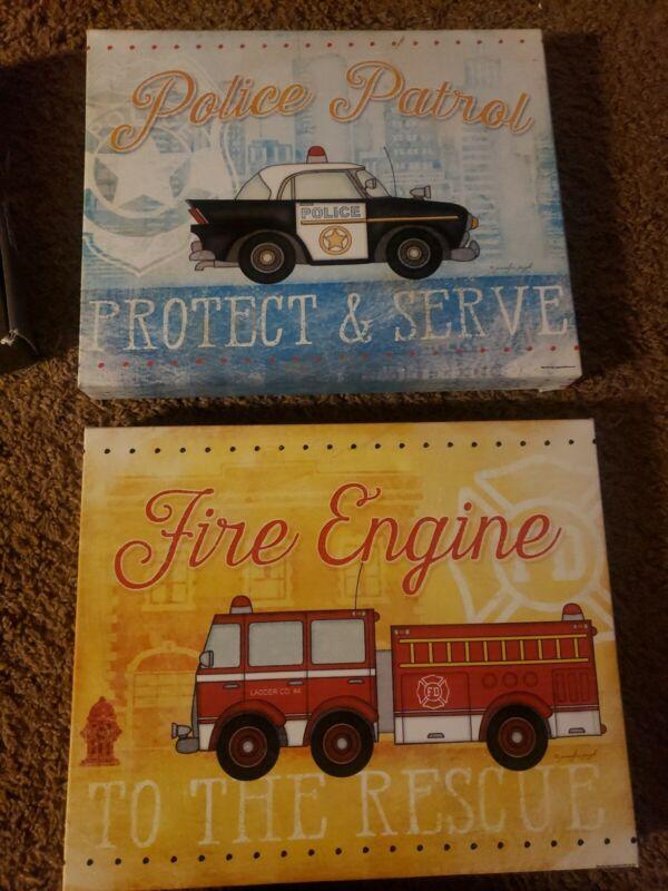 2 Pc Set Canvas Prints Childs Room Police Patrol And Fire Engine Jennifer Pugh