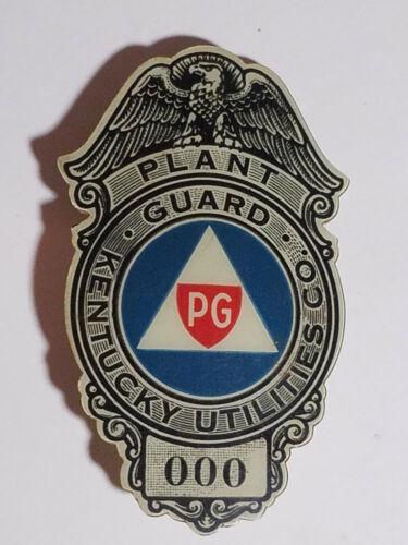 Obolete 1940's Kentucky Utilities Co. Plant Guard. Celluloid Badge, #000