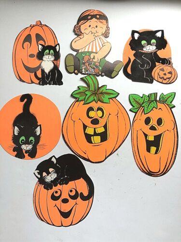 VTG Lot of 7 Halloween Girl Eating Candy, Pumpkins, Cats  Decoration Cutout
