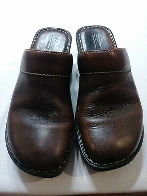 Born Women's Brown Leather Clogs Hand Crafted Footwear Size 7 ()