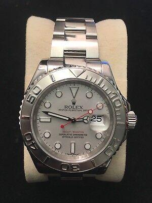 Rolex Yacht-Master Date Men Wristwatch Perpetual Platinum Bezel COA $20K VALUE!