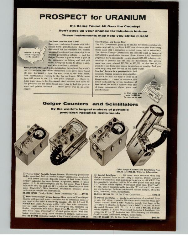 1956 PAPER AD Geiger Counter Scintillator US Government Reward Find Uranium