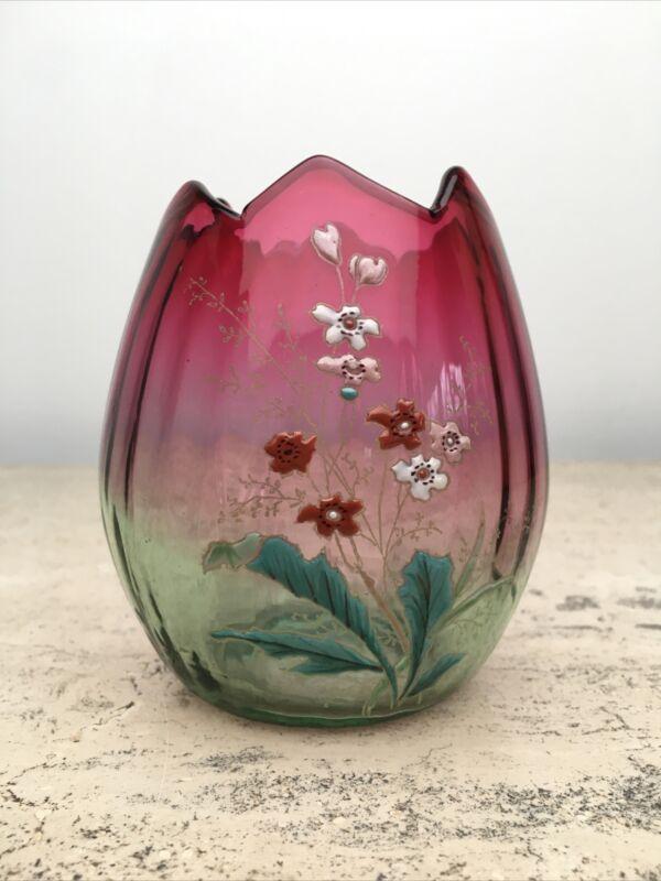 Antique Victorian Legras ? Cranberry Rubina Enameled Flower Glass Egg Vase