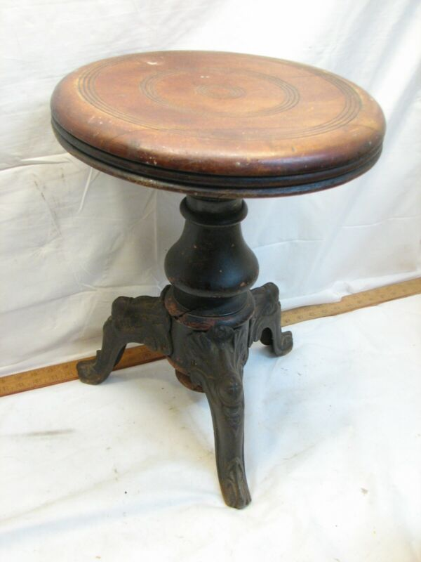 Cast Iron Leg Wooden Antique Piano Stool Organ Riser Wood Seat Merriam Meriden