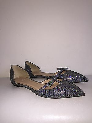J.CREW SLOAN GLITTER D'ORSAY FLATS WITH MINI BOW, E4476, SIZE 7 $158](Glitter Flats With Bow)