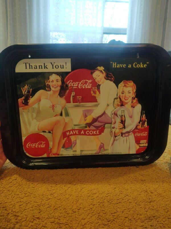 Vintage Coca Cola Tray 3 Ladies Holding Coke