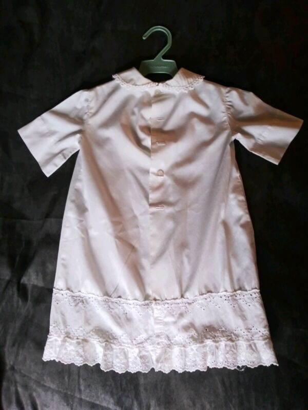 "Antique Christening Gown 21"" Length White Original-Possibly Handmade-NICE!!"