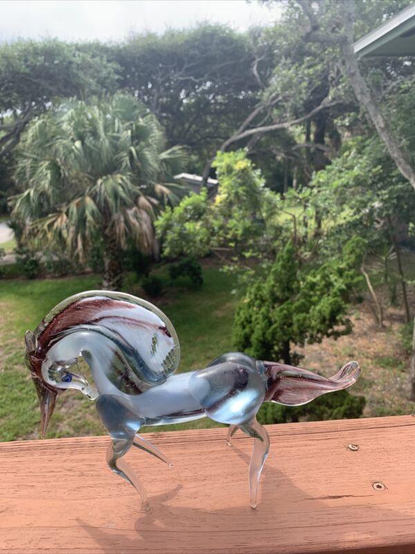 "Hand Blown Blue/Purple Unicorn  figurine detail art glass decor collectible 9"""