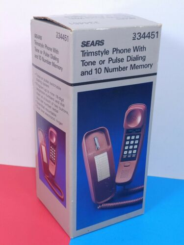 Vintage NOS Sears Trimstyle Wall Mount Phone Burgundy Retro Mint Unused In Box