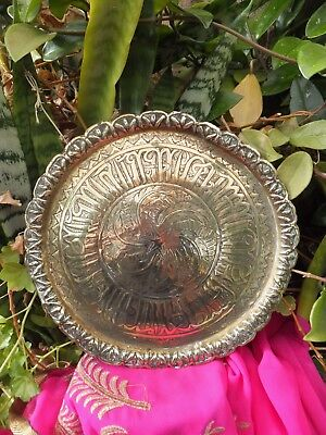 Antique Islamic Script Engraved Brass Tray Star Centre Handmade