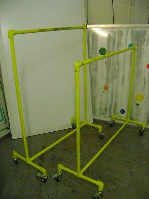 Urban Industrial Pipe Racks Yellow Rolling Garment Clothing Rack Set Of 2