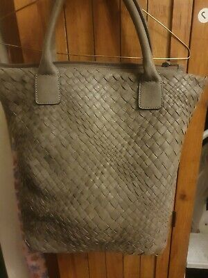 NEW FALOR WOVEN LEATHER TOTE ITALY TAUPE