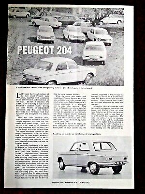 PEUGEOT 204 Launch Article 1965 - Official Reprint from Autocar
