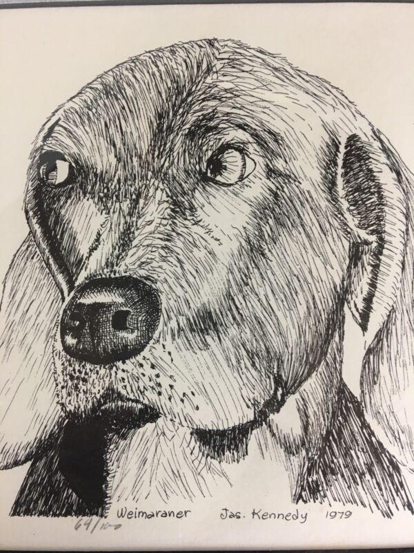 Vintage Weimaramer Dog Art Etching Picture Framed Artist Signed 1979