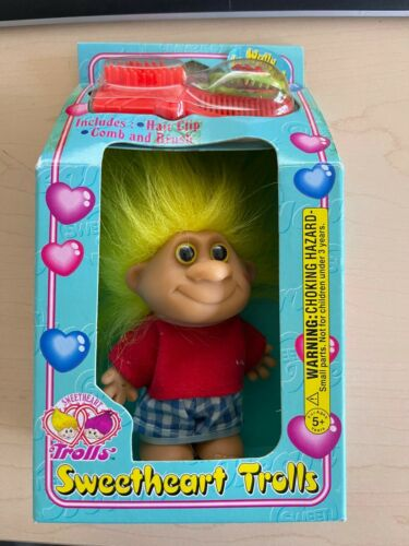 Vintage 1998 IMPERIAL SWEETHEART TROLLS Wally Wonderful Yellow Hair TOY DOLL NEW