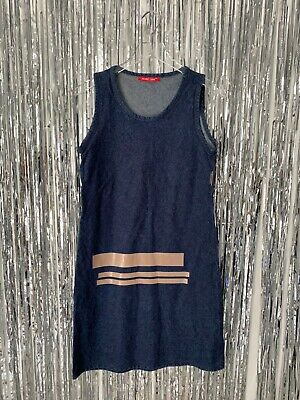 HELMUT LANG JEANS 90s Denim Dress SIZE 42 IT Coated Striped Print Italy Vintage