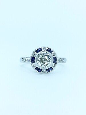 Art Deco 18ct White Gold Diamond & Sapphire Ring Top Quality