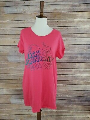 Jack Womens Pink T-shirt (Women's Xl Jack Johnson Pink Band T Shirt 100% Organic Cotton )