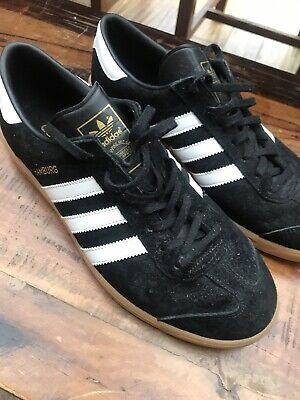 Adidas Hamburg Black Uk 11 Vintage Rare Casual Trainers