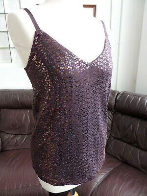 NEXT BURGUNDY BROWN FULLY LINED SPARKLY SEQUIN CAMISOLE TOP SIZE 8-10 BNWT