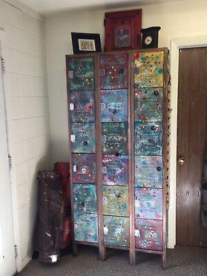Awesome Unique Vintage Custom Painted Metal School Gym Lockers- 18 Lockers Total