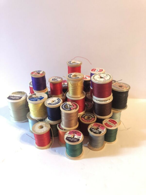 Lot of 40 Vintage Spools of Thread