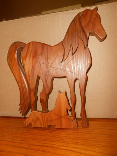 VINTAGE HAND-MADE ARABIAN HORSE MARE & FOAL WOOD WALL ART--SIGNED ROB SMITH 1988
