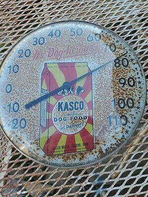 "VINTAGE KASCO DOG FOOD ROUND THERMOMETER 10"" 726-Q"