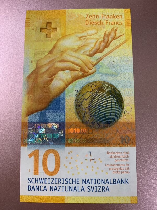 10 Swiss FRANCS Banknote. New UNC 10 National Bank Of Switzerland Note. Franc