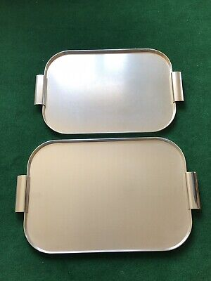 2pcs KAYMET MCM ANODIZED WARE METAL SERVING TRAY SET - MADE IN ENGLAND
