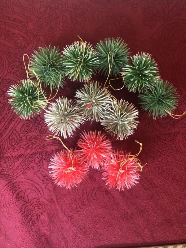 Vintage Plastic Spike Christmas Ornament Balls Set of 12