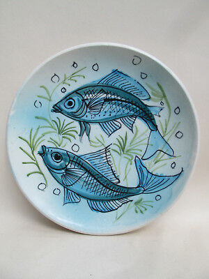 A Vintage Hand Painted Stamped Maltese Hanging Plate Fish