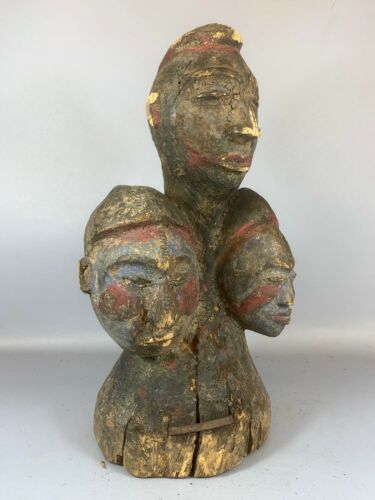 210338 - Old Tribal used Rare African 3 head statue from Eket - Nigeria.