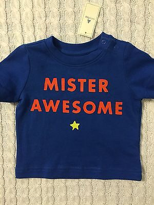 New/Tags 3-6 Month Baby Gap Boy's 100% Cotton Snap Shoulder T-Shirt