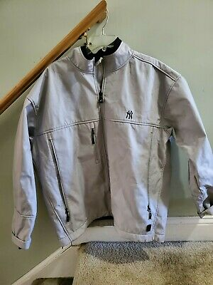 Antigua Mens NY Yankees Jacket Sz Large Full Zip Polyester Water Resist Gray EUC