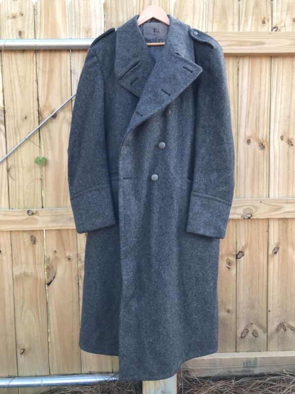 Vintage 1954 Military Trench Coat Long Gray Wool Danish Civilforsvaret MKLI
