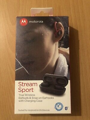 Motorola Stream Sport SH015 Wireless Bluetooth Earbuds Headphone iOS Android NEW