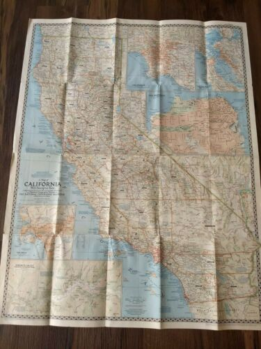 Vintage 1954 National Geographic Map Of California Descriptive Notes